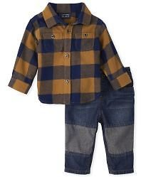 Baby Boys Long Sleeve Plaid Flannel Button Down Shirt And Jeans Outfit Set