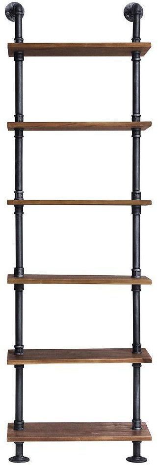 Today's Mentality Verona Industrial Floating Silver Brushed Gray Pipe Wall Book Shelf with Walnut Wood-TMFLOSLHD