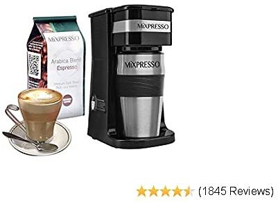 Ultimate 2-In-1 Single Cup Coffee Maker & 14oz Travel Mug Combo   Portable & Lightweight Personal Drip Coffee Brewer & Tumbler Advanced Auto Shut Off Function & Reusable Eco-Friendly Filter