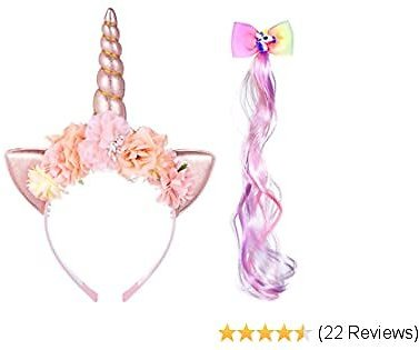 【2020 NEWEST】Unicorn Headband for Girls with Wig Clip