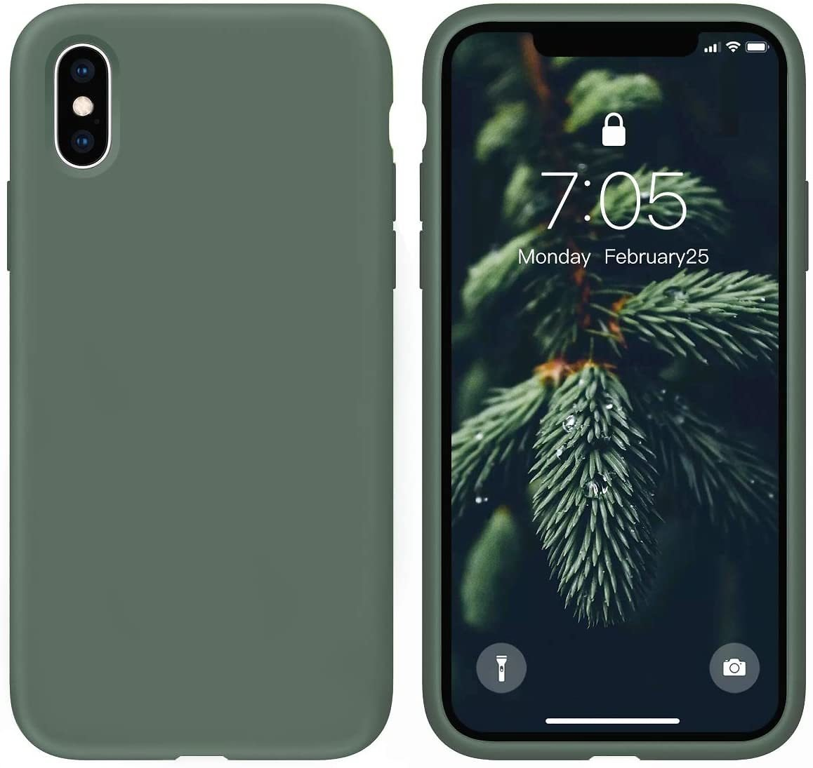 OUXUL Case for IPhone X/iPhone Xs Case Liquid Silicone Gel Rubber Phone Case,iPhone X/iPhone Xs 5.8 Inch Full Body Slim Soft Mic