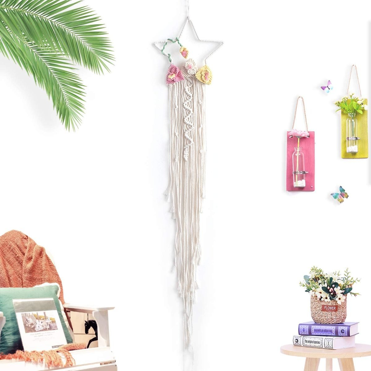 TEESHLY Handmade Woven Cotton Dream Catchers, Boho Macrame Dreamcatchers Wall Hanging Home Decoration Ornament Craft Gift (Beige