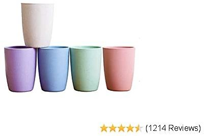 Choary Eco-friendly Unbreakable Reusable Drinking Cup for Adult(12 OZ), Wheat Straw Biodegradable Healthy Tumbler Set 5-Multicolor, Dishwasher Safe