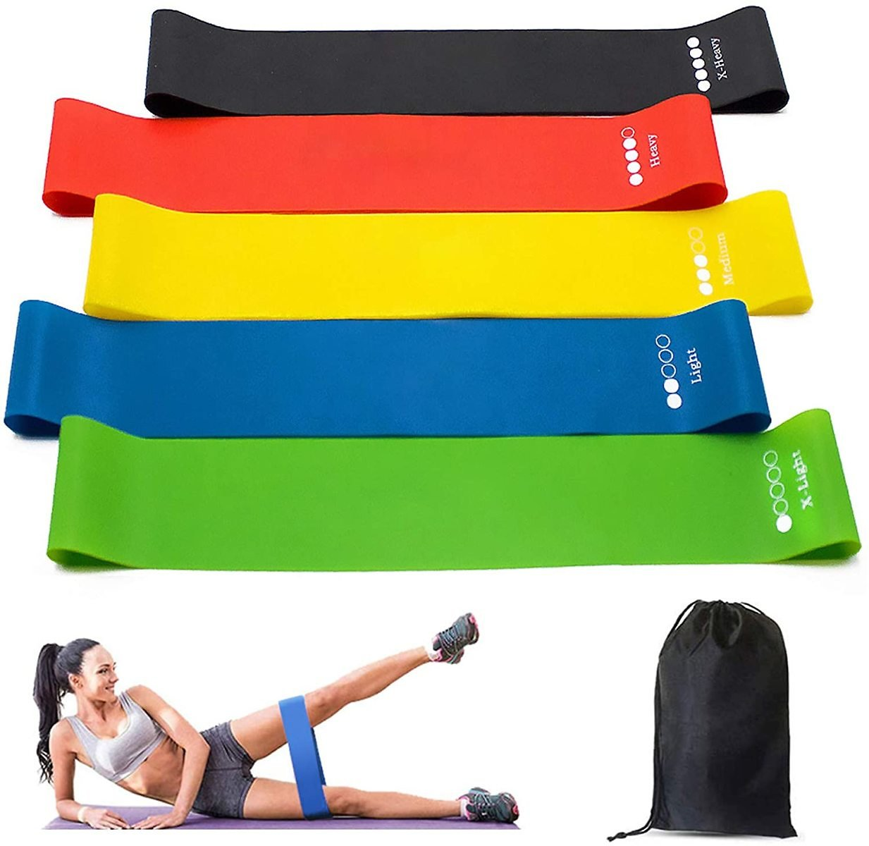 Resistance Bands 5Pcs with Carry Bag for Home Fitness, Stretching, Strength Training, Physical Therapy, Yoga, Pilates