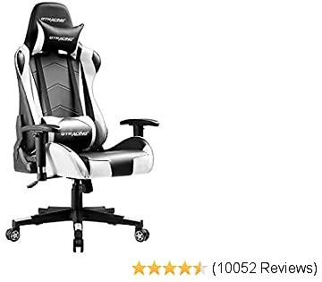GTRACING Gaming Chair Racing Office Computer Ergonomic Video Game Chair Backrest and Seat Height Adjustable Swivel Recliner with Headrest and Lumbar Pillow E-Sports Chair White