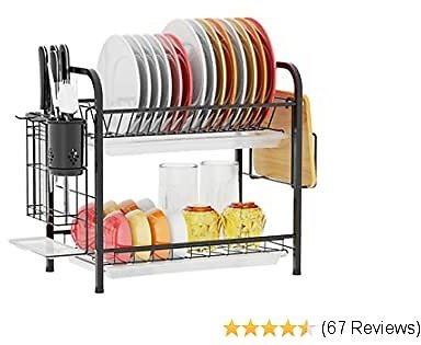 Dish Drying Rack, Packism 2 Tier 304 Stainless Steel Dish Rack with Utensil Holder Cutting Board Holder Dish Drain Board, Anti Rust Large Rack of Dishes for Kitchen Countertop, Black