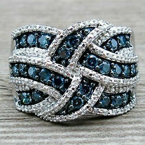 Women New Silver Plated Blue Sapphire Ring Women Engagement Wedding Band Jewelry