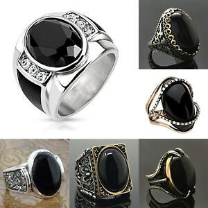 Gorgeous 925 Silver Rings Women Jewelry Black Moonstone Wedding Ring Size 6-10