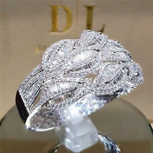 Gorgeous Jewelry 925 Silver Leaf Rings White Sapphire Wedding Rings Size 5-11