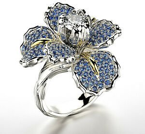 Gorgeous Flower Two Tone 925 Silver Rings for Women Wedding Party Ring Size 5-10