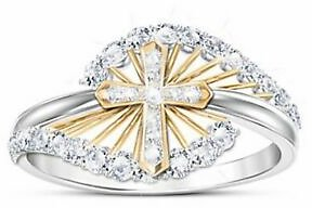 Fashion Cross Two Tone 925 Silver CZ Ring for Women Wedding Party Ring Size 5-10