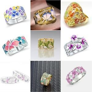 Elegant Flower 925 Silver Wedding Rings Women White Sapphire Ring Size 6-10