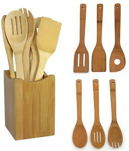 6 Pcs/set Bamboo Kitchen Utensil Wooden Cooking Tool Spoon Spatula Mixing Kit