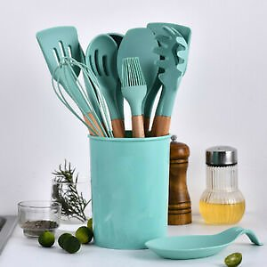 Silicone Cooking Kitchen Utensils Set Bamboo Wooden Handles Cooking Tools GK