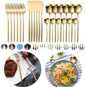 Gold 24Pcs Stainless Steel Flatware Set Service Kitchen Cutlery Silverware for 6