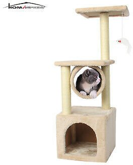 35'' Cat Tree Bed Furniture Scratching Tower Post Condo Kitten Play House Beige 606280520094