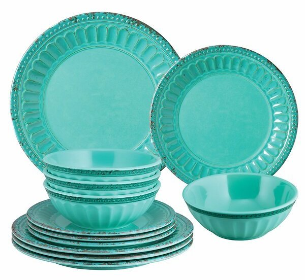 Holbeach 12 Piece Melamine Dinnerware Set, Service for 4
