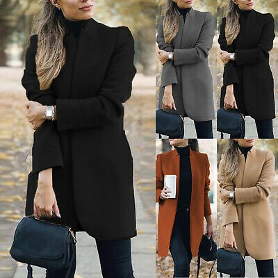 Women's Ladies Blazer Open Front Trench Coat Warm Long Jacket Outwear Overcoat