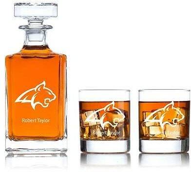 Personalized Whiskey Decanter 2 Glasses Set Anniversary Birthday Gift