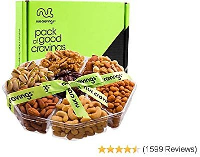 Nuts Gift Basket Assortment, Green Ribbon Extra Large Tray (7 Mix) - Variety Care Package, Birthday Party Food, Holiday Arrangement Platter, Healthy Kosher Snack Box for Families, Women, Men, Adults