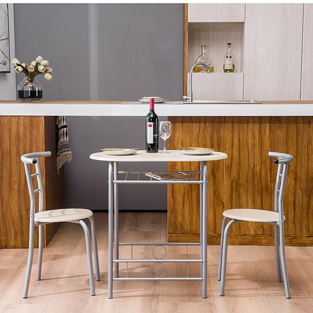 Zimtown 3 Piece Dining Set Compact 2 Chairs and Table Set with Metal Frame and Shelf Storage Bistro Pub Breakfast Space Saving F