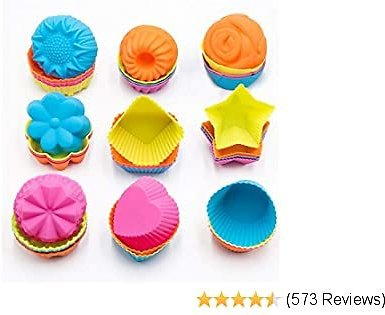 To Encounter Silicone Cupcake Baking Cups 36 Pack Non Stick Cake Molds Sets 9 Shapes Silicone Muffin Pan for Baking Silicone Muffin Liners