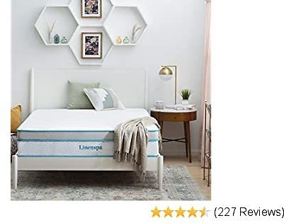 Linenspa Best 12 Inch Memory Hybrid Plush-Individually Encased Coils-Edge Support-Quilted Foam Cover Mattress, Queen, White
