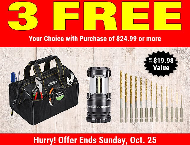3 Special Free Gifts for You - Harbor Freight