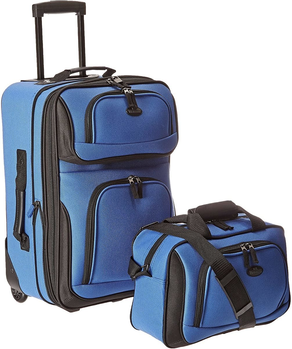 2-Piece U.S. Traveler Rio Rugged Fabric Expandable Carry-On Luggage Set, Royal Blue+F/S