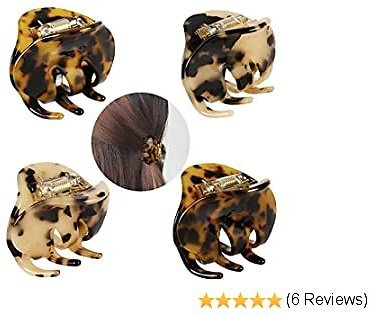 4 Pack 2.1 Inch Hair Claw Clips Tortoise Shell Cellulose Acetate Resin Hair Barrettes Medium French Design Hair Jaw Leopard Print Fashion Hair Styling Accessories for Women Girls
