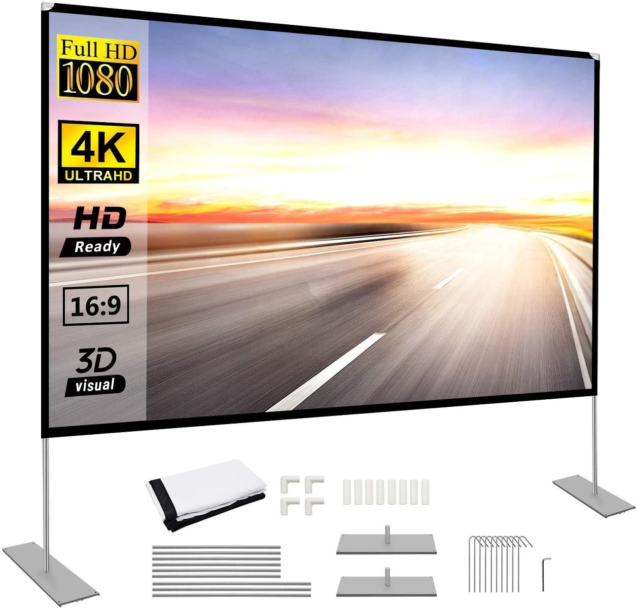 Projector Screen with Stand 100 Inch Portable Projection Screen 16:9 4K HD Rear Front Projections Movies Screen for Indoor Outdo