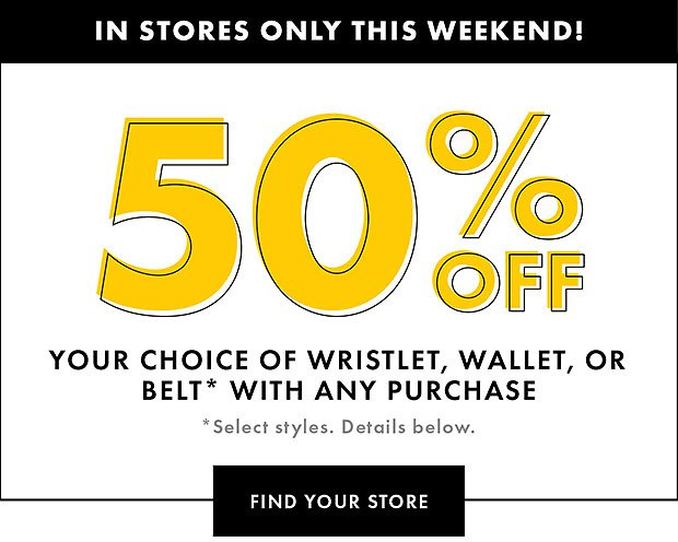 50% Off Choice Of Wristlet, Wallet Or Belt with $50 Purchase - DSW