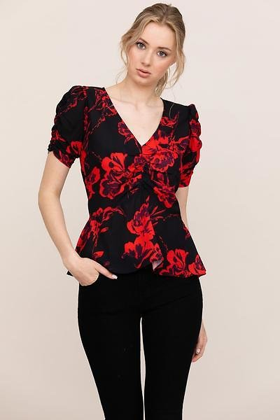 AFTER HOURS TOP   Black And Red Floral Top – YUMI KIM