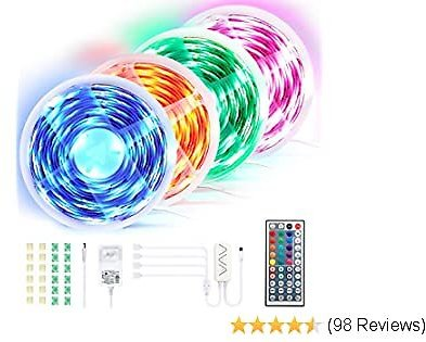 65.6 Ft LED Strip Lights, 4 Pcs Ultra-Long RGB LED Tape Light Strip, APP & Remote Controlled, Music Sync & Timer Mode, DIY Color, Cutting Design, Decoration & Lighting for Room Ceiling TV Showcase