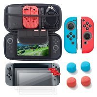 Nintendo Switch 6 Items Starter Kit, By Insten Carrying Case EVA Hard Shell Cover + 3-pack LCD Guard + Joy-Con Co
