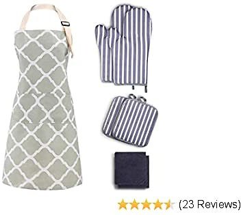 Tosewever Oven Mitts/Pot Holders and Apron Set, Heat Resistant Oven Mitts with Kitchen Towels, Soft Cotton Lining Oven Gloves for Baking, Cooking, BBQ (7-Pieces Set, Green Apron)