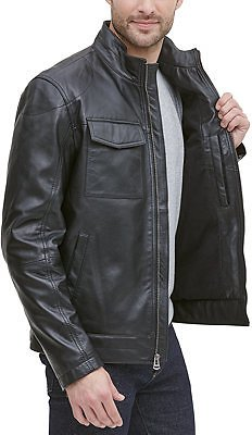 Cole Haan Men's Leather Racer Jacket, Created for Macy's & Reviews - Coats & Jackets - Men