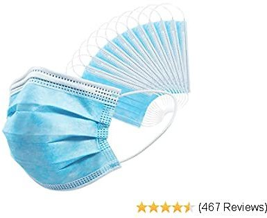 Disposable Face Masks 50 PCS 3Ply Breathable & Comfortable Filter Safety Mask for Adult, Men, Women, Indoor, Outdoor Use