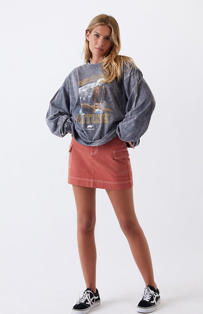 PacSun Burnt Coral Belted Cargo Skirt