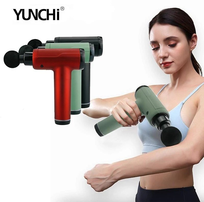 Massage Gun Muscle Pain Relief Therapy Massage Tissuce Recovery Touch Screen 20 Levels Speed EVA Case 6 Massage Heads LED