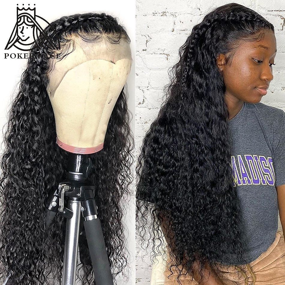 28 30 Inch Deep Wave 13X4 Lace Front Human Hair Wigs Water Curly Short Bob and Long Lace Frontal Plucked Hairline with Baby Hair