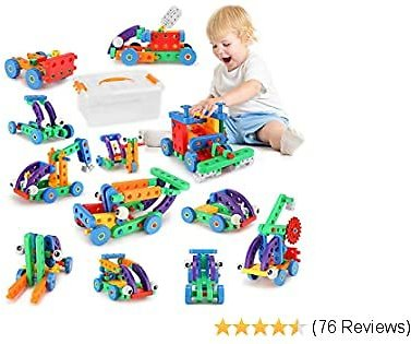 Fansteck 12 in 1 STEM Building Toys, Building Toys for Kids, Educational Big Size Building Blocks Learning Set for Ages 3 4 5 6 7 8 9 10 Year Old, Best Gift for Kids, Creative Games & Fun Activity
