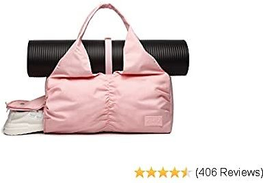 Travel Yoga Bag for Women, Carrying Workout Gear, Makeup, and Accessories, Shoe Compartment and Wet Dry Storage Pockets, Fun Medium,Pink