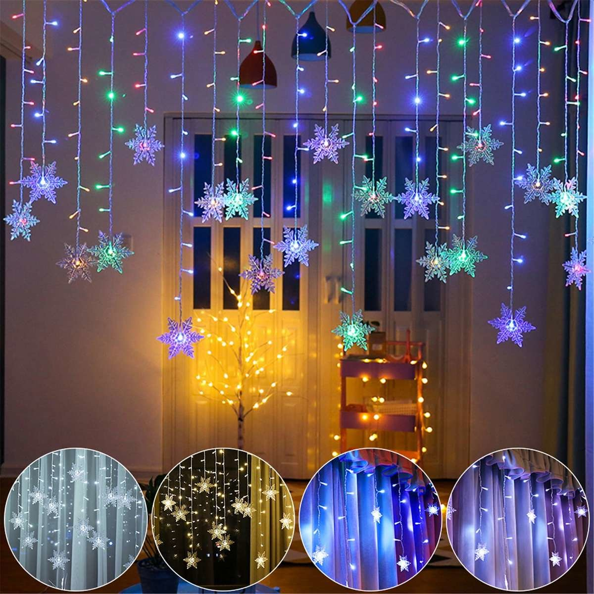 10% OFF LED Curtain String Lights Lamps 110V Snowflake Connectable Wave Fairy Light For Holiday Party Room Home Decoration