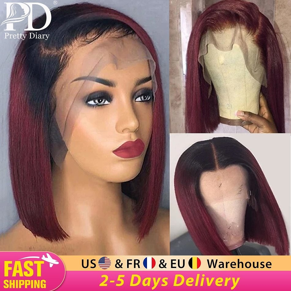 US $65.38 57% OFF|13x4 Glueless Straight Burgundy Lace Front Wigs 1B 99J Bob Wigs Ombre Wine Red Short Bob Human Hair Wigs Brazilian Pre Plucked|Human Hair Lace Wigs| - AliExpress