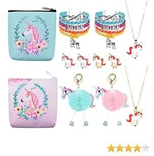 Hicarer 12 Pieces Unicorn Girls Gift Set Unicorn Coin Purse Friendship Bracelet Stud Earrings Necklace Cute Unicorn Pom Pom Keychain for Party Favors Birthday Supplies