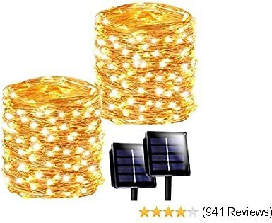 SANJICHA Solar String Lights Outdoor, 2-Pack Each 72FT 200 LED Super Bright Solar Lights Outdoor, Waterproof Copper Wire 8 Modes Fairy Lights for Christmas Decorations Party Holiday (Warm White)
