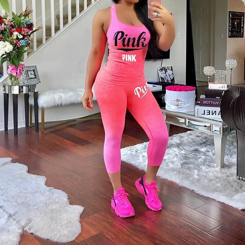 Sexy Pink Letter Print Tracksuits Women Two Piece Set Women Plus Size Tracksuit Summer Slimming Casual Pant Suits Sets Outfits