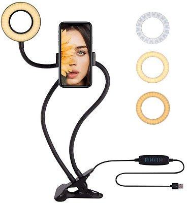 LED Selfie Ring Light with Cell Phone Holder Flexible Stand Live Stream Lamp