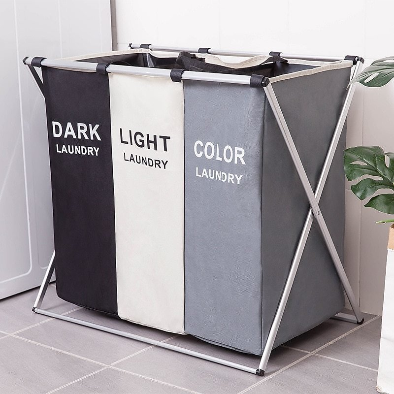 US $13.4 29% OFF|Dirty Clothes Storage Basket Three Grid Organizer Basket Collapsible Large Laundry Hamper Waterproof Home Laundry Basket|Laundry Baskets| - AliExpress